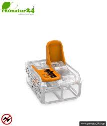WAGO Compact Verbindungsklemme, Serie 221   Modell 221-412   für 2 eindrahtige, feindrahtige und mehrdrähtige Leiter   Leiterquerschnitt 0,14 bis 4 mm²   450V / 32 A   Alternative zur Lüsterklemme   50 Stück