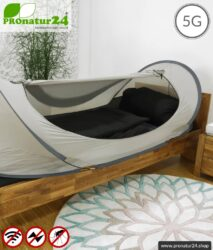 Pop Up Abschirmzelt SAFECAVE fürs Einzelbett | Wurfzelt mit 99,99 % HF Abschirmwirkung (42 dB) | Mobiler Elektrosmog Baldachin | erdbar