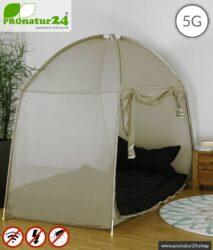 Abschirmzelt SAFECAVE fürs Einzelbett   > 99,99 % Wirkungsgrad (Schirmdämpfung bis zu 47 dB)   Mobiler Vollschutz Anti Elektrosmog Baldachin   NF erdbar