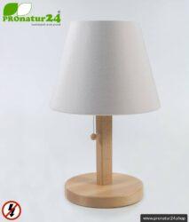Geschirmte Tischleuchte aus Buchenholz mit Lampenschirm in NATUR Farbe | aus Chintz, einem Baumwollgewebe in Leinenbindung | 31 cm Höhe, E27 Fassung, 40 Watt.